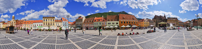 Crowded town square of Brasov, Romania Royalty Free Stock Photos