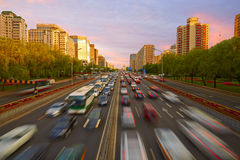 Crowded traffic, Beijing. Main roads full of moving vehicles, traffic peak time in Beijing city