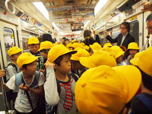 Crowded Train. Train full of school children Stock Images