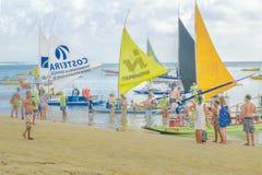 Crowded Tropical Beach Porto Galinhas Brazil Stock Photography
