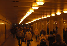 Crowded underground tube. In Moscow. March 2006 Royalty Free Stock Image