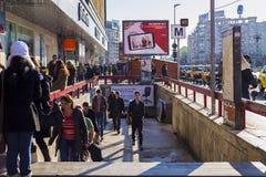 Crowded Unirii Square subway station entrance Stock Photos