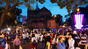 Crowded urban scene, Vietnam holiday Stock Images