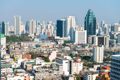Crowded Urban Skyline of Bangkok, Thailand, with Contemporary Hi Stock Image