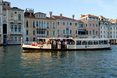 Crowded vaparetto waterbus on Grand Canal, Venice Stock Image