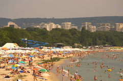 Crowded summer beach Stock Photography