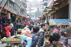Crowded vegetable market Stock Image