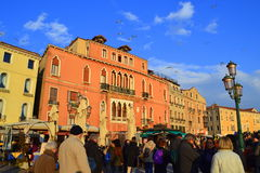 Crowded Venice embankment Stock Photography
