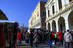 Crowded Venice embankment Royalty Free Stock Image