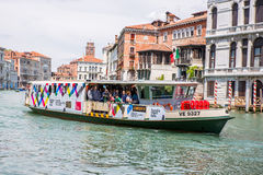 Crowded Venice Passenger Boat in Venice, Italy. Stock Photos
