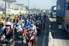Crowded, Vietnam, Asia ctiy, vehicle, exhaust fumes, Stock Images
