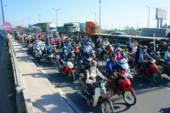Crowded, Vietnam, Asia ctiy, vehicle, exhaust fumes, Royalty Free Stock Photos