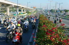 Crowded, Vietnam, Asia ctiy, vehicle, exhaust fumes Stock Image