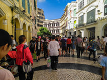 Crowded visitors on Historic Centre of Macao-Senado Square in Macao Royalty Free Stock Photo