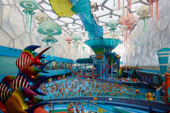 Crowded Water Park, Beijing. Panoramic view of Beijing Water Cube Water Park Royalty Free Stock Photography