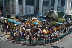Crowded worship to Brahma at Ratchaprasong district, Bangkok, Thailand on 1 January 2018. Stock Image