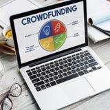 Crowdfunding电灯泡Rocketship计划企业图表概念 图库摄影