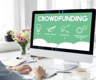 Crowdfunding项目计划战略商业图表概念 库存照片