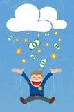 Crowdfunding από το σύννεφο με το πηδώντας άτομο Στοκ Φωτογραφίες