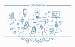 Crowdfunding Линия иллюстрация вектора искусства плоская Стоковая Фотография RF
