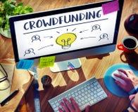 Crowdfunding货币业务电灯泡图表概念 库存图片