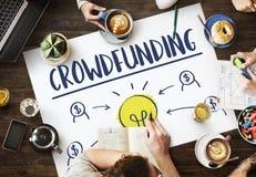 Crowdfunding货币业务电灯泡图表概念 免版税库存照片