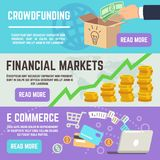 Crowdfunding banners. Business banking, e commerce and financial markets vector concepts. Financial online, banner crowdfunding illustration Royalty Free Stock Images