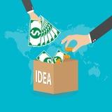 Crowdfunding begrepp för plan stil som betalar projekt, vektor Arkivbild