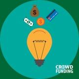 Crowdfunding begreppsillustration Royaltyfria Bilder