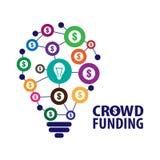 Crowdfunding begreppsillustration Arkivbild