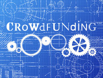 Crowdfunding Blueprint Tech Drawing Stock Photography