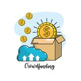 Crowdfunding business company negotiation support. Vector illustration Royalty Free Stock Photo
