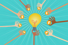 Crowdfunding and Business Investor concept. Crowdfunding concept with hands holding money to give their support around light bulb idea Stock Photo