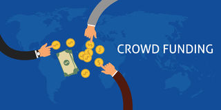 Crowdfunding. Or collecting money from people to support a great ideas coin flat illustration vector Stock Images