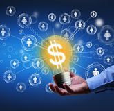 Crowdfunding or community funding concept. Presenting a new idea - crowdfunding or community funding concept Royalty Free Stock Images