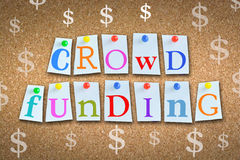 Crowdfunding concept with adhesive notes and pins on cork billboard Stock Photo