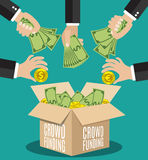 Crowdfunding concept flat Royalty Free Stock Image