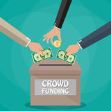 Crowdfunding concept in flat style. Hands giving cash dollars and coins money for new business project in red box. Crowdfunding concept. Vector illustration in Stock Photos
