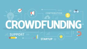 Crowdfunding concept illustration. Crowdfunding concept. Idea of raising money for business through the internet. Finding investors and donors for business Royalty Free Stock Image
