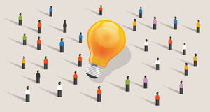 Crowdfunding crowd-sourcing big ides bulb community of people together standing together. Vector Stock Image