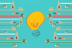 Crowdfunding et concept d'investisseur d'affaires Images stock