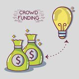 Crowdfunding finance company and economy support. Vector illustration Royalty Free Stock Photography