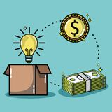 Crowdfunding finance company and economy support. Vector illustration Stock Images