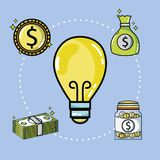 Crowdfunding finance company and economy support. Vector illustration Royalty Free Stock Photo