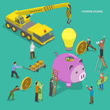 Crowdfunding flat isometric vector concept. Royalty Free Stock Photography
