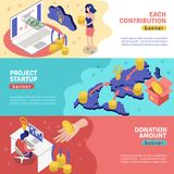 Crowdfunding Horizontal Banners Set. Isometric crowdfunding banners collection with conceptual image compositions representing online donation services and Royalty Free Stock Photo