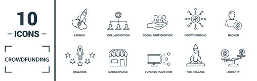 Free Crowdfunding Icon Set. Include Creative Elements Marketplace, Social Participation, Pre-release, Rewards, Funding Platform Icons. Stock Photography - 162202632