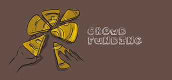 Crowdfunding illustration Arkivfoto