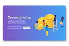 Free Crowdfunding Isometric Concept With People. Stock Images - 119632604