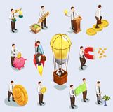 Crowdfunding Icons Set. Crowdfunding isometric icons set with business and money symbols isolated vector illustration Royalty Free Stock Photography